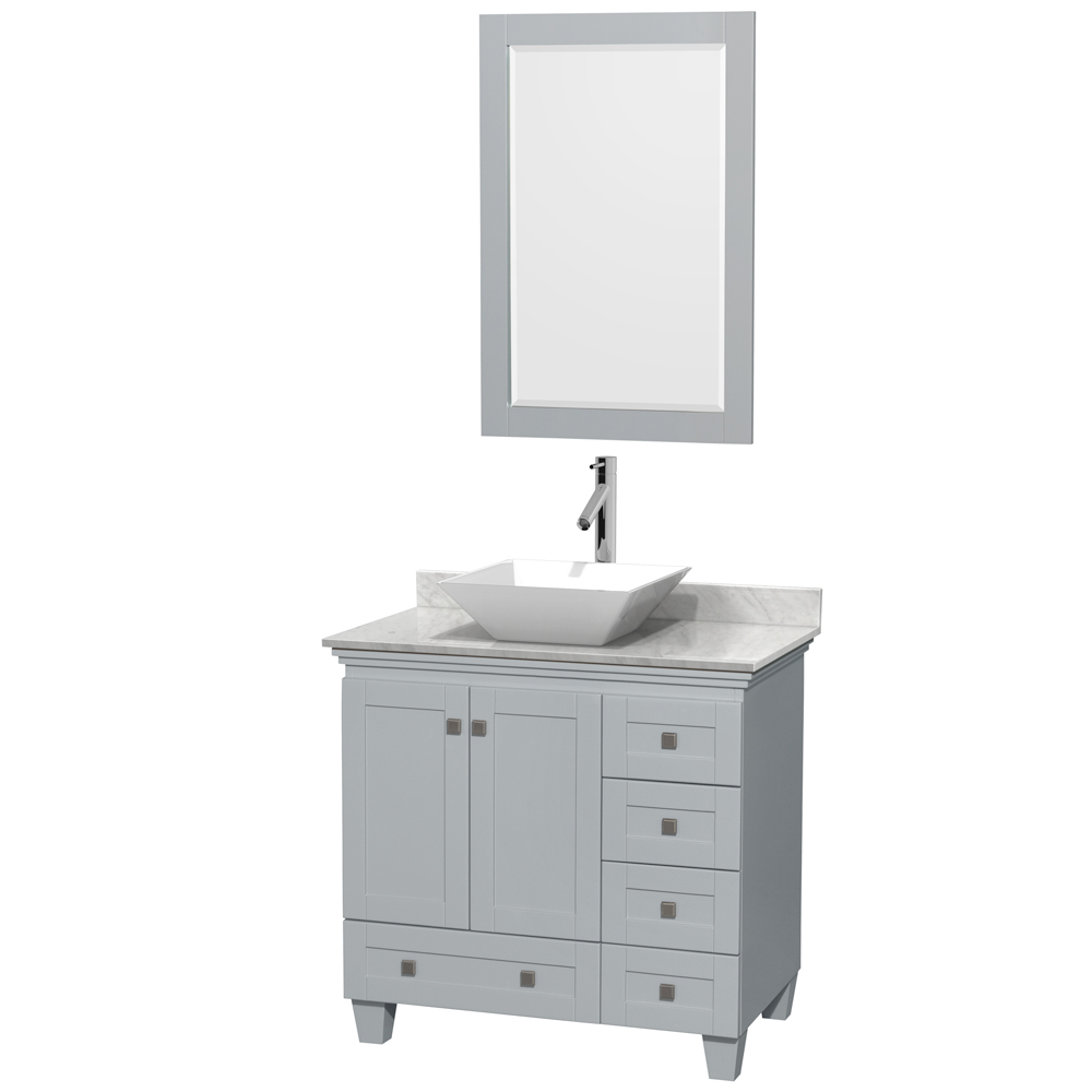 Accmilan 36 Inch Vessel Sink Bathroom Vanity Grey Finish Marble Countertop