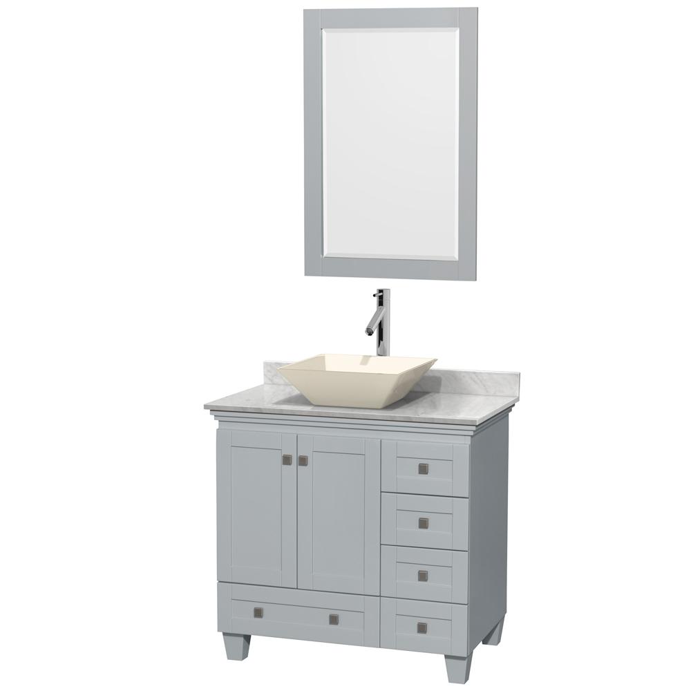 Accmilan 36 inch Vessel Sink Bathroom Vanity in Grey Finish, White ...