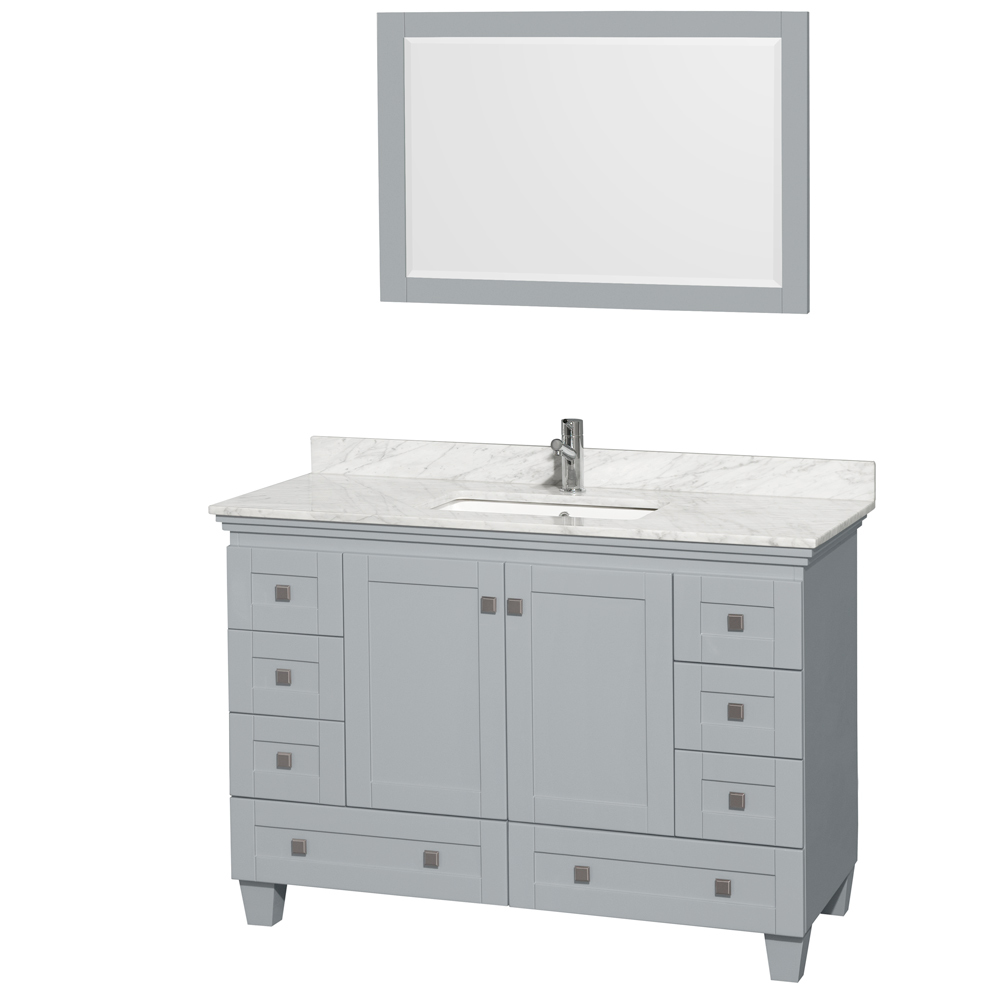 Accmilan 48 inch single sink bathroom vanity in grey for Single bathroom vanity