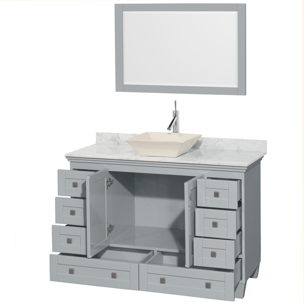 Bathroom Perfect Double Vessel Sink Vanity With Storage Drawers White