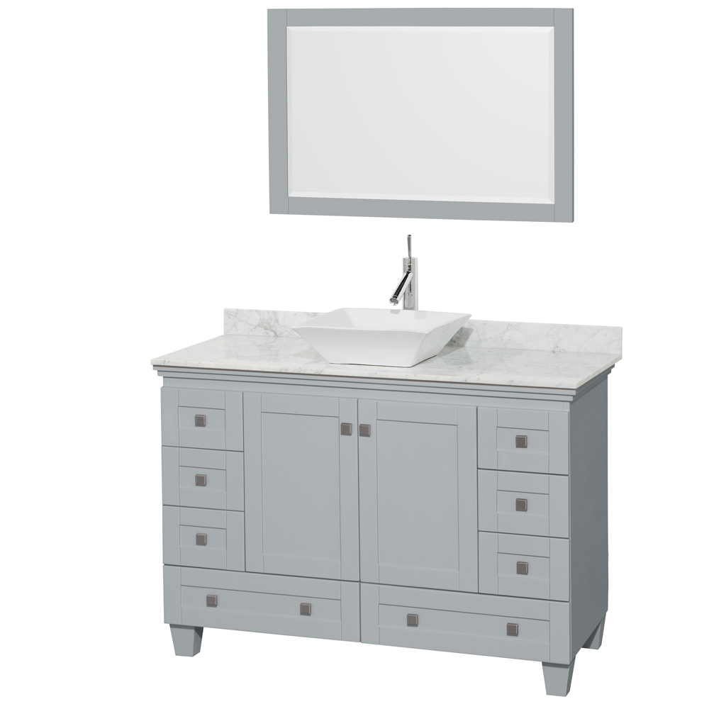 Accmilan 48 inch vessel sink bathroom vanity in grey for Bathroom vanities with sink