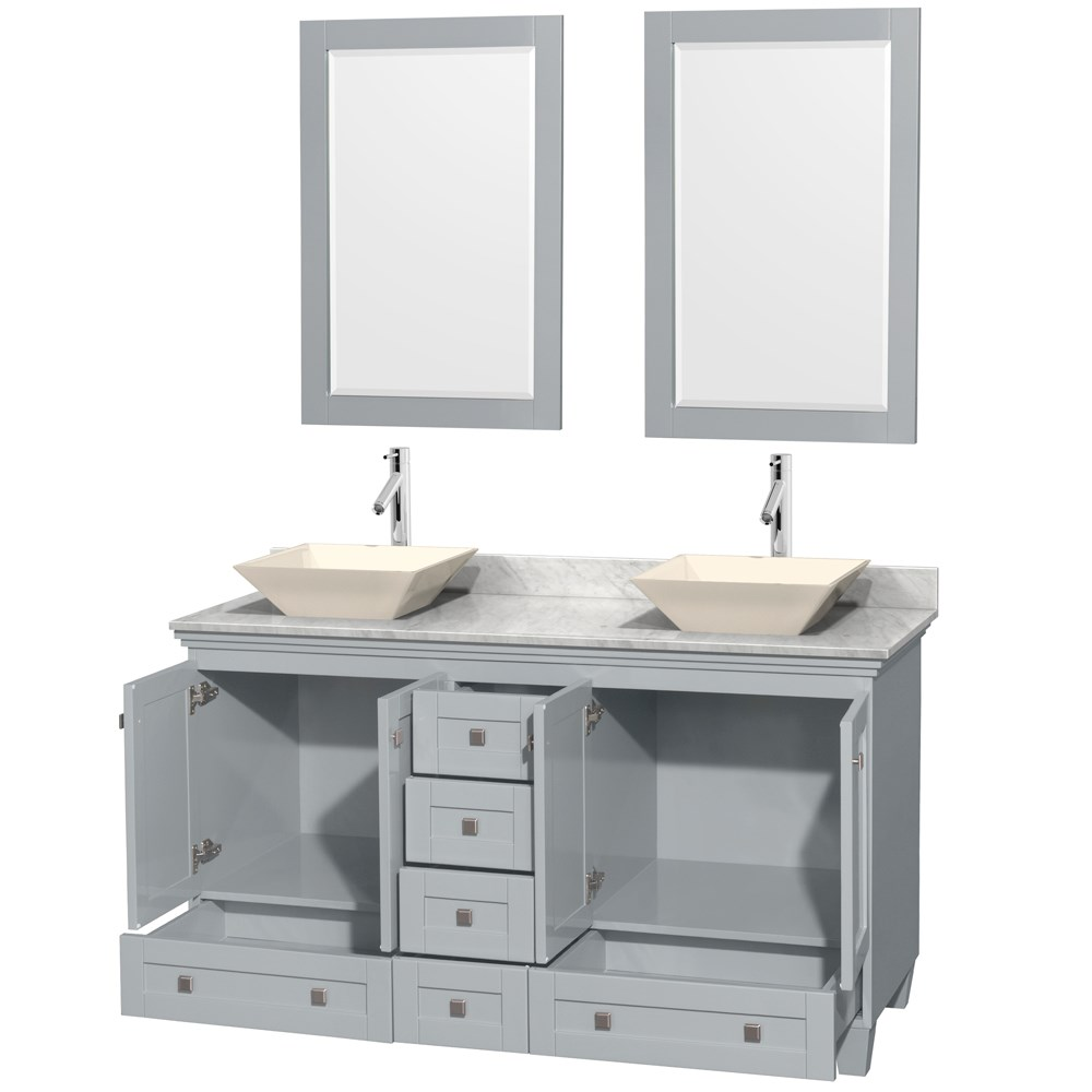 Acclaim 60 Double Bathroom Vanity In Oyster Gray With Countertop Sinks And Mirror Options