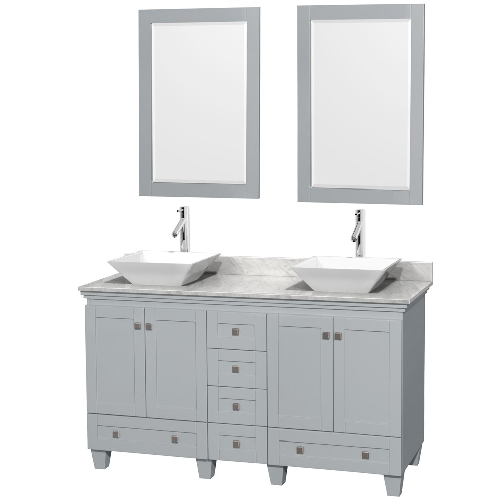Accmilan 60 Inch Double Sink Bathroom Vanity In Grey Finish Marble Top
