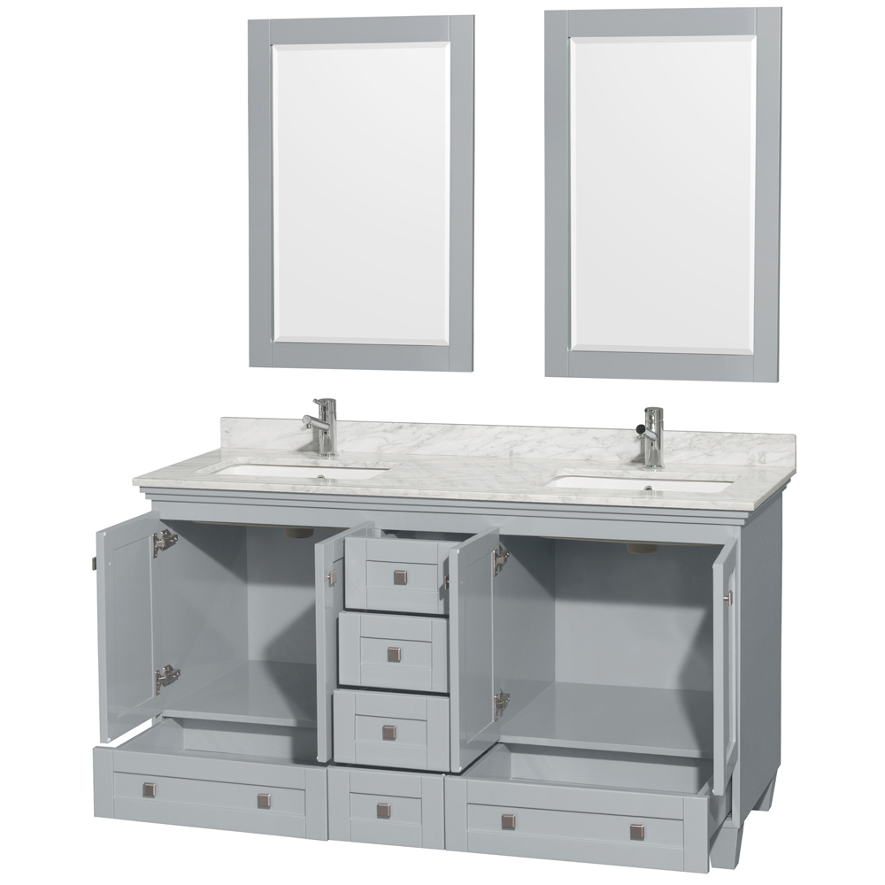 ... Accmilan 60 Inch Double Sink Bath Vanity In Grey Finish ...