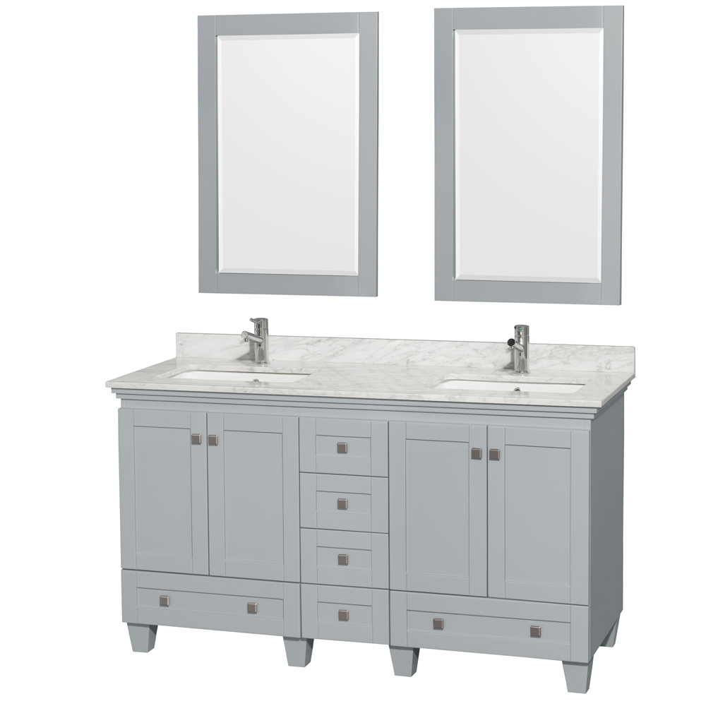 60 inch Double Sink Bathroom Vanity in Grey Finish