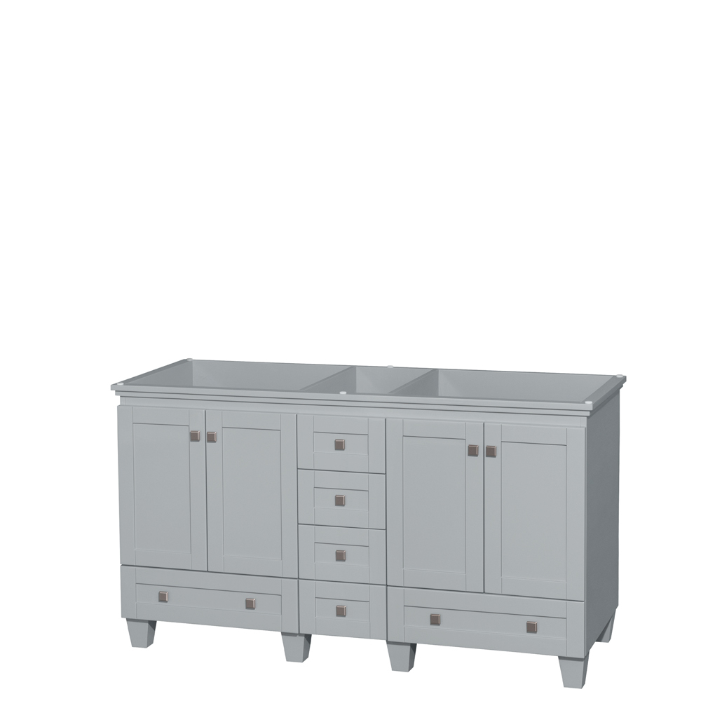 Accmilan 60 Inch Double Sink Bathroom Vanity In Grey Finish