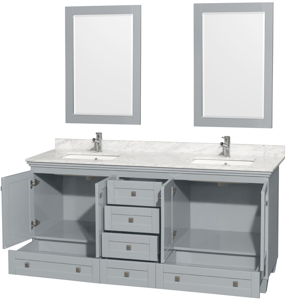 Accmilan 72 Inch Double Sink Bathroom Vanity In Grey Finish White Carrera Ma