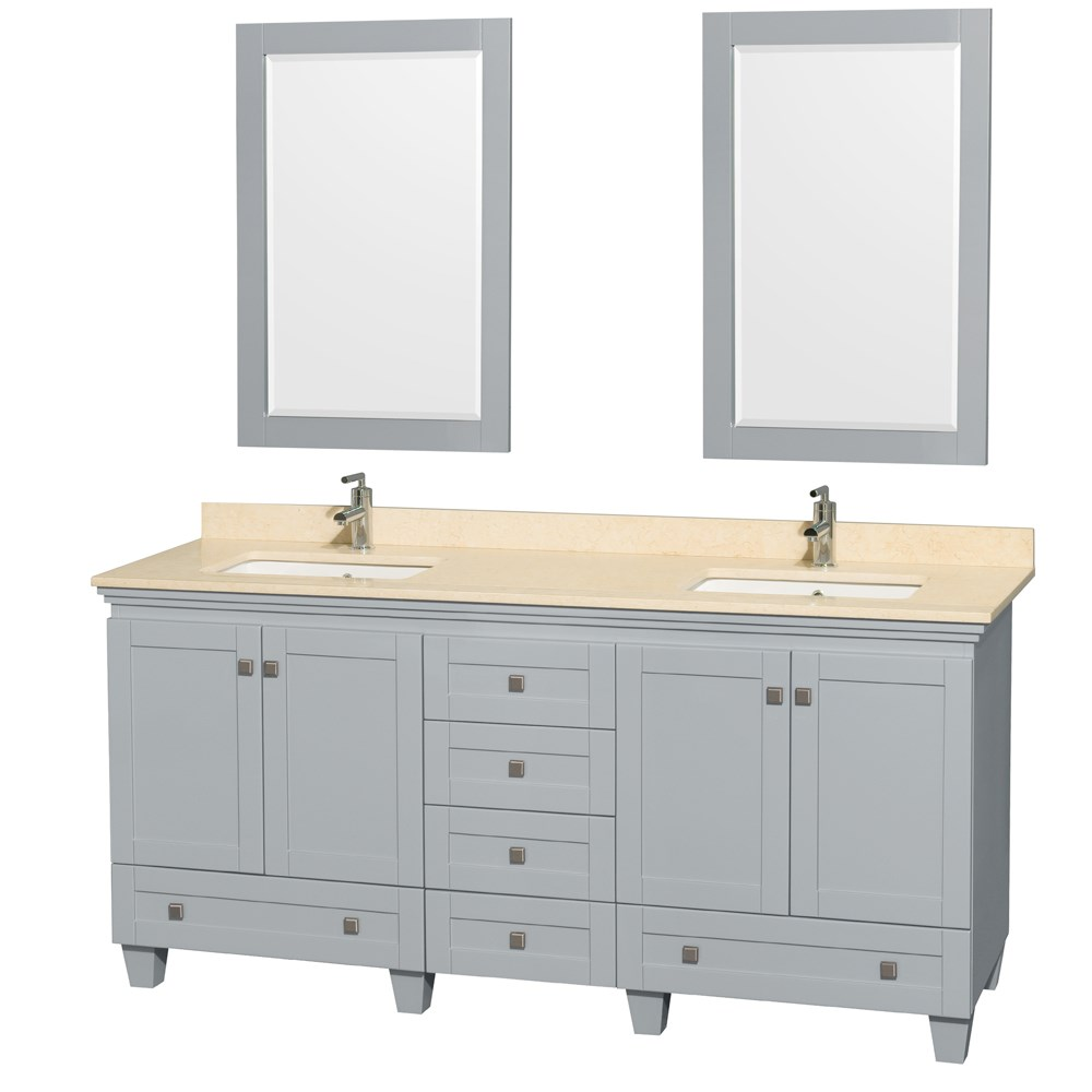 Accmilan 72 Inch Double Sink Bathroom Vanity In Grey Finish White Carrera Marble Or Ivory