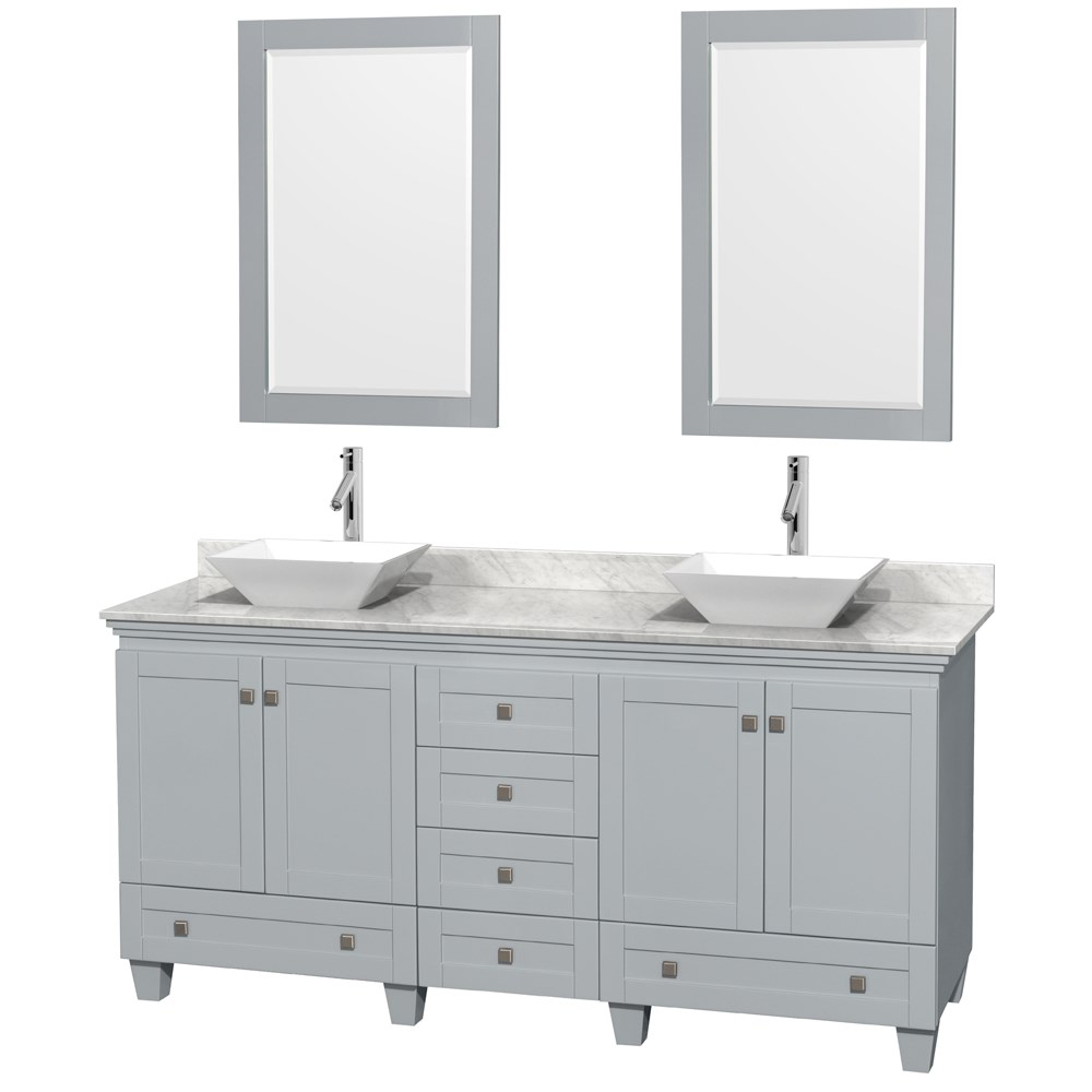 Great Accmilan 72 Inch Double Sink Bathroom Vanity In Grey Finish Marble  Countertop ...