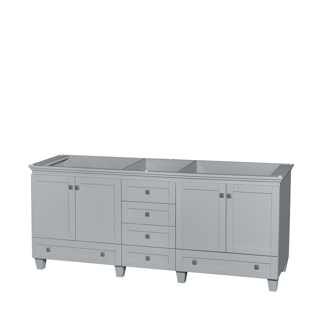 Accmilan 80 inch Double Sink Bathroom Vanity in Grey Finish, White ...