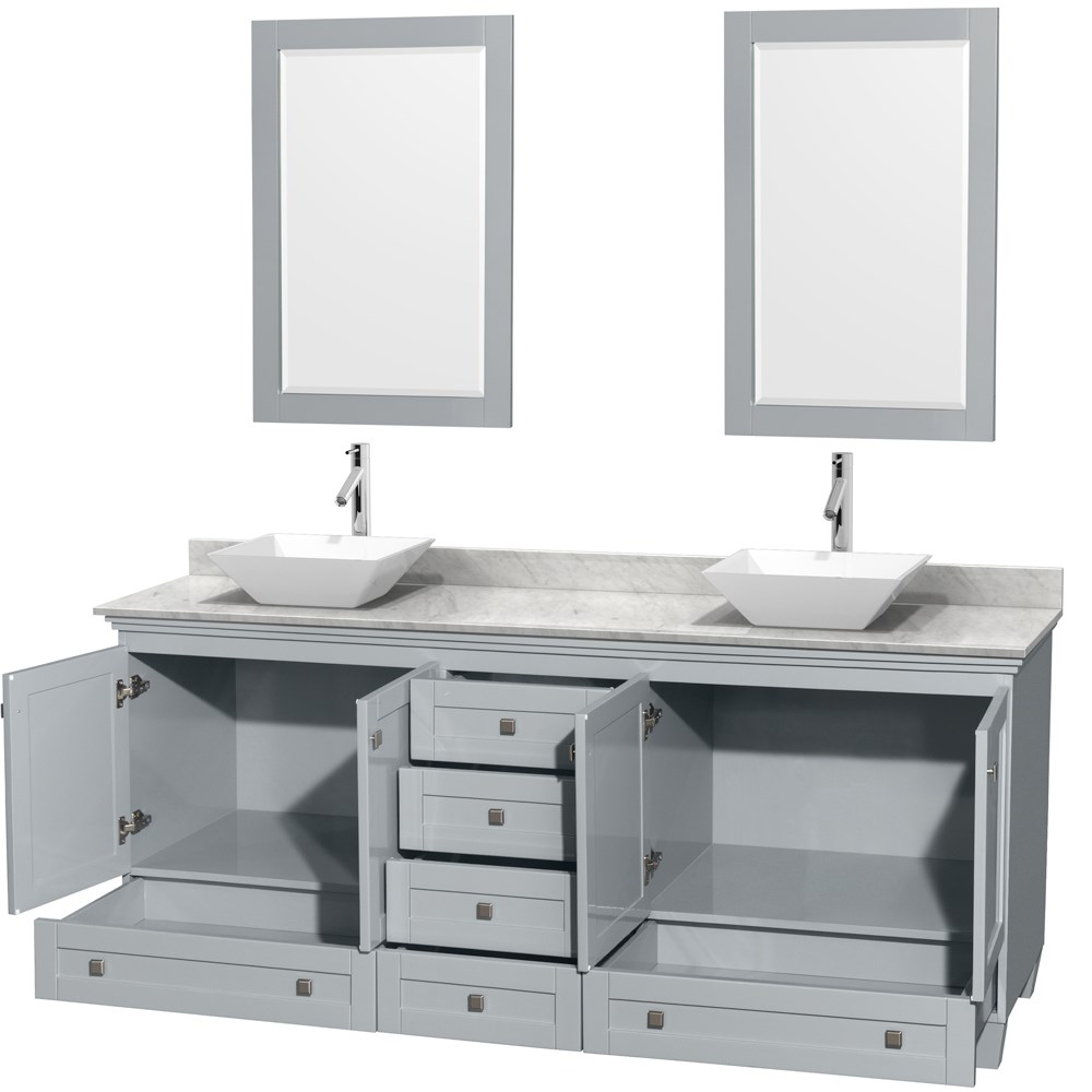 accmilan 80 inch double sink bathroom vanity in grey finish, white