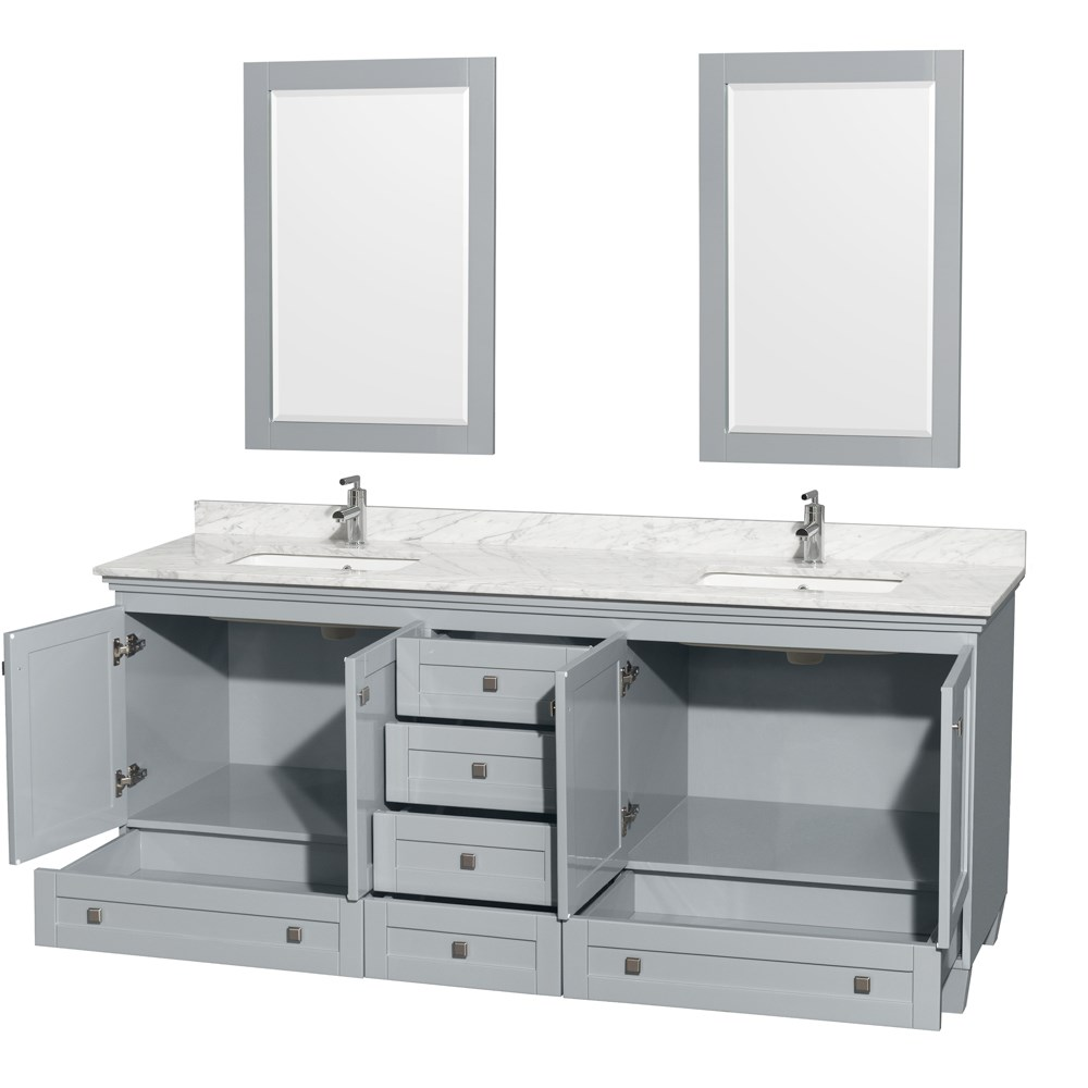 Accmilan 80 inch double sink bathroom vanity in grey for Vanities for the bathroom