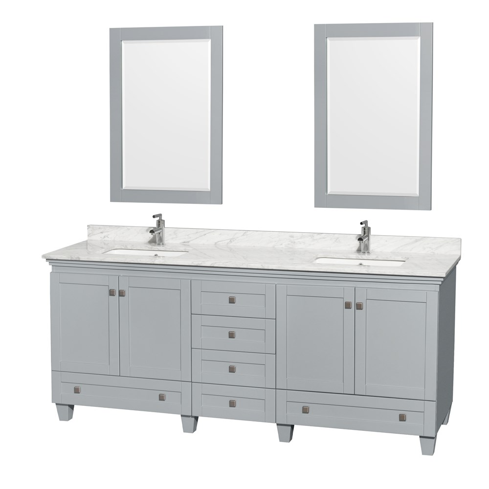 Accmilan 80 Inch Double Sink Bathroom Vanity In Grey Finish Marble Top