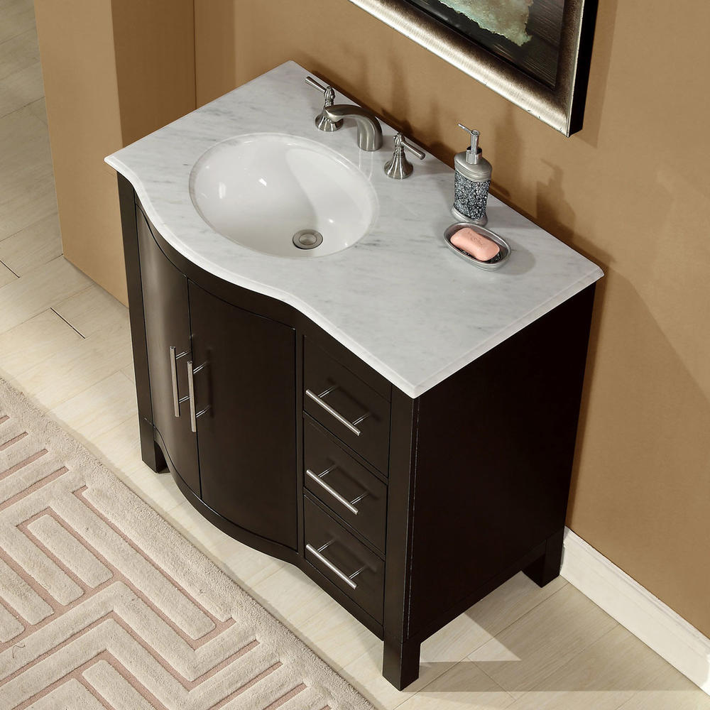 Accord 36 inch contemporary single sink bathroom vanity for Restroom vanity