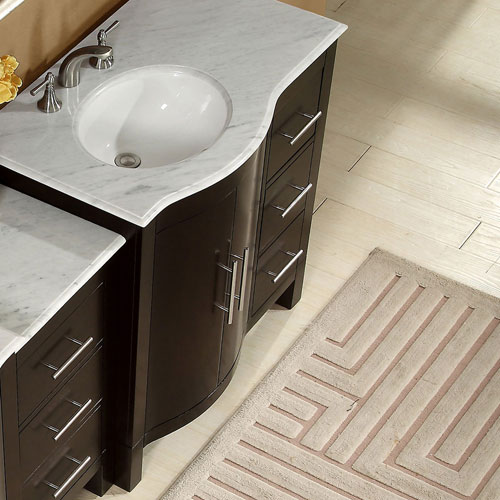 accord 54 inch contemporary double sink bathroom vanity with left sink