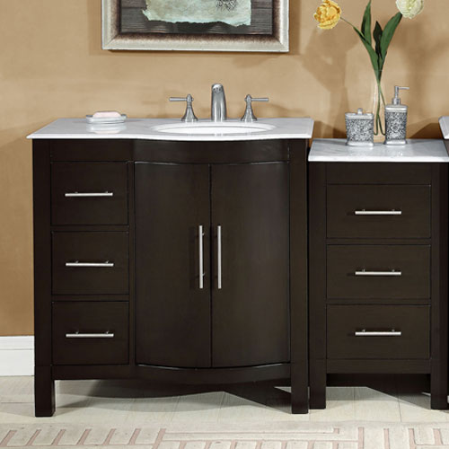 Accord 54 Inch Contemporary Double Sink Bathroom Vanity With Right Sink
