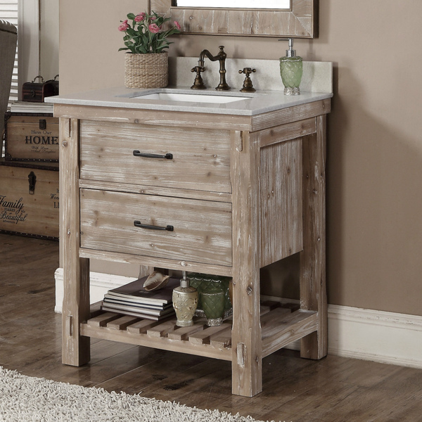 Accos 30 inch rustic bathroom vanity with matching wall mirror for 30 wide bathroom vanity