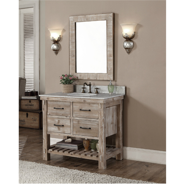 Accos Inch Rustic Bathroom Vanity Quartz White Marble Top - 36 inch rustic bathroom vanity