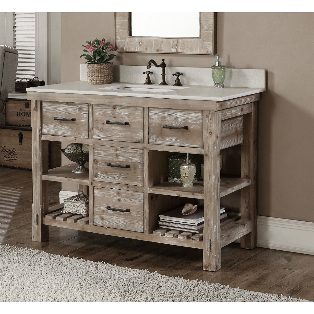 48 inch rustic bathroom vanity matte ash grey limestone top