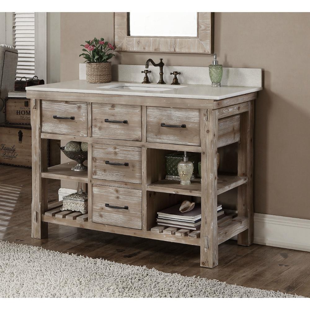accos  inch rustic bathroom vanity matte ash grey limestone top, Home design
