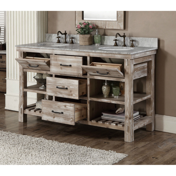 Bathroom Vanities Double Sink 60 Inches accos 60 inch rustic double sink bathroom vanity marble top