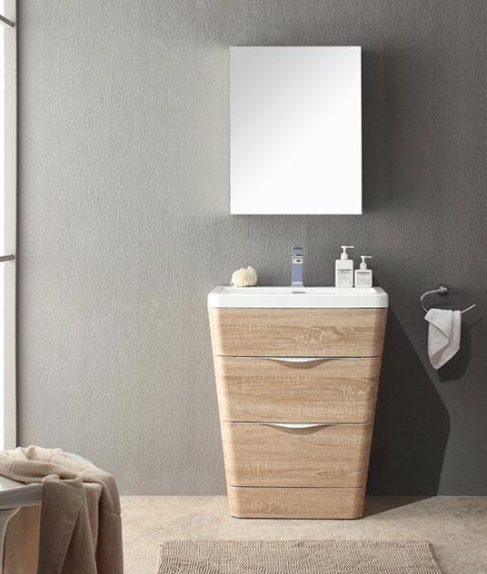 25 Inch Modern Bathroom Vanity White Oak Finish