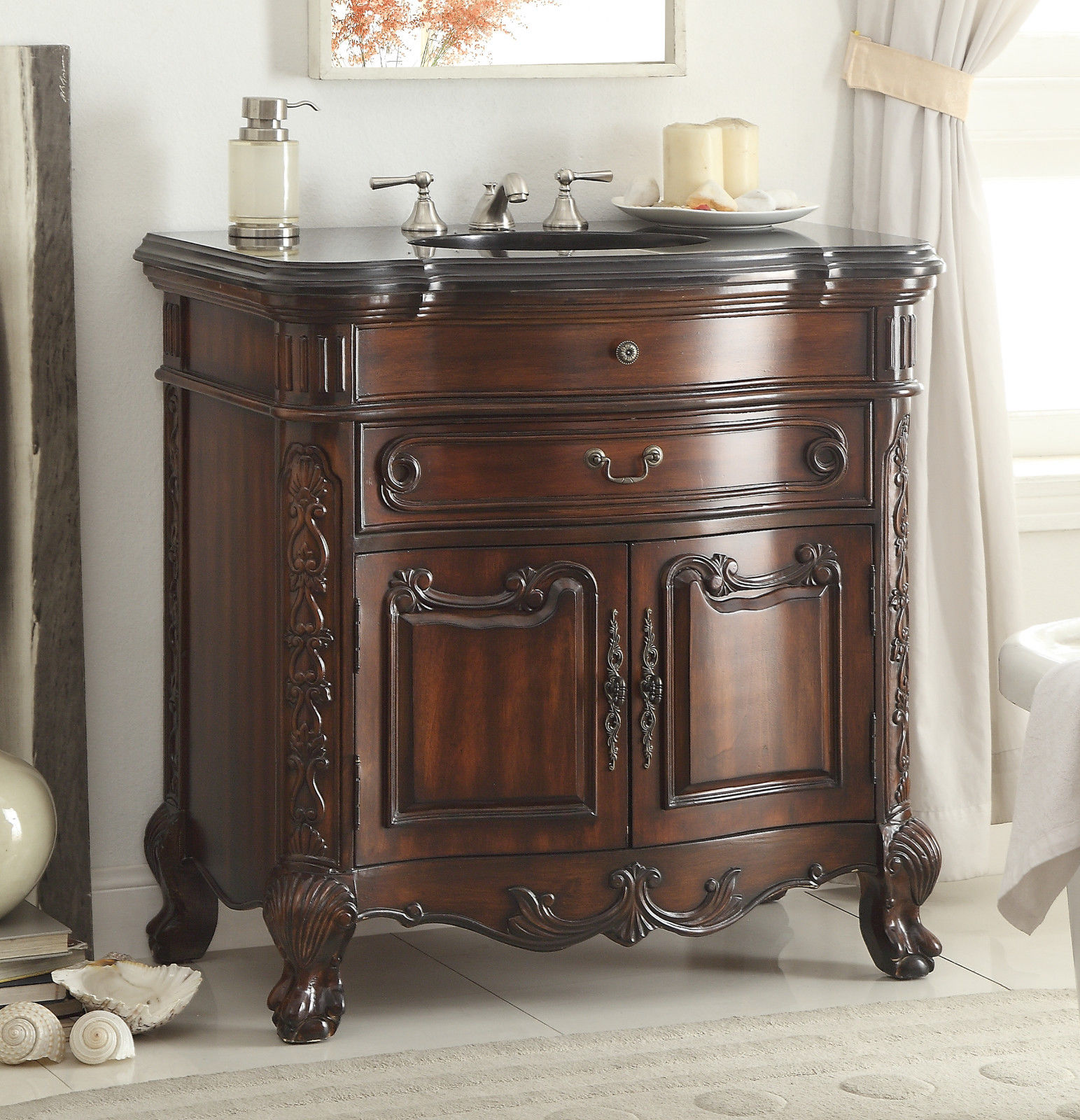 36 inch Adelina Antique Mahogany Bathroom Sink Vanity - 36 Inch Antique Mahogany Bathroom Sink Vanity