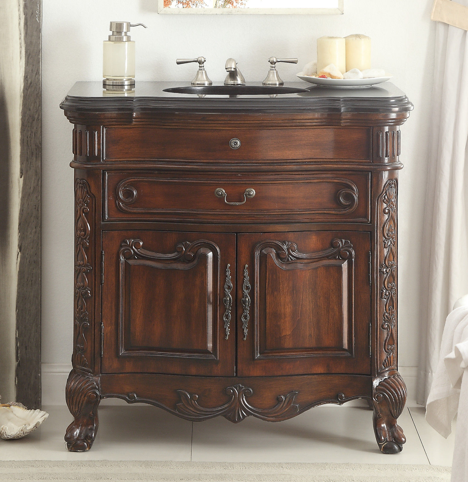... Adelina 36 inch Antique Mahogany Sink Vanity - Adelina 36 Inch Antique Mahogany Bathroom Sink Vanity