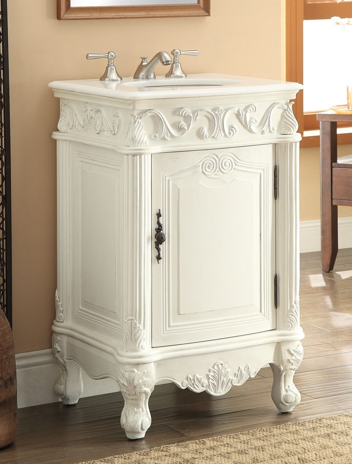 - Adelina 21 Inch Antique White Finish Bathroom Vanity