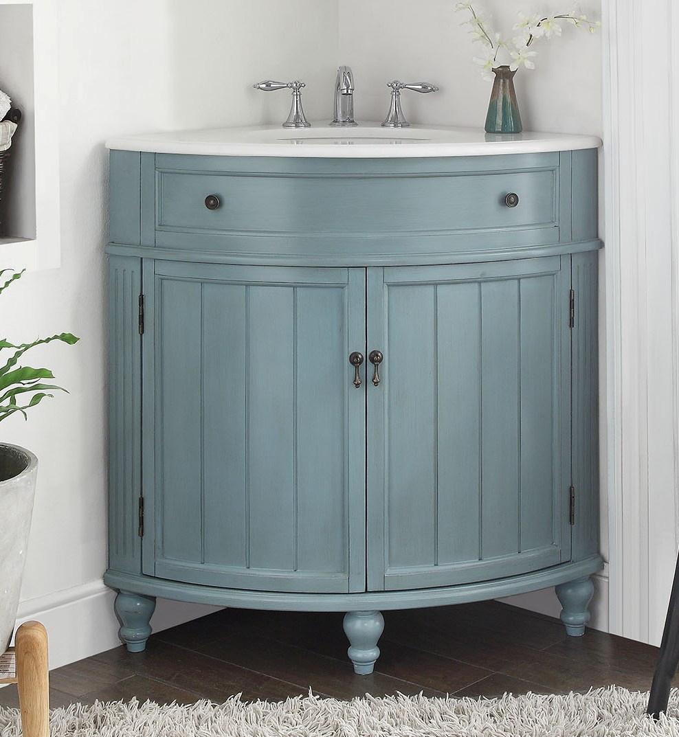 adelina 24 inch corner antique bathroom vanity light blue finish - Bathroom Cabinets Corner