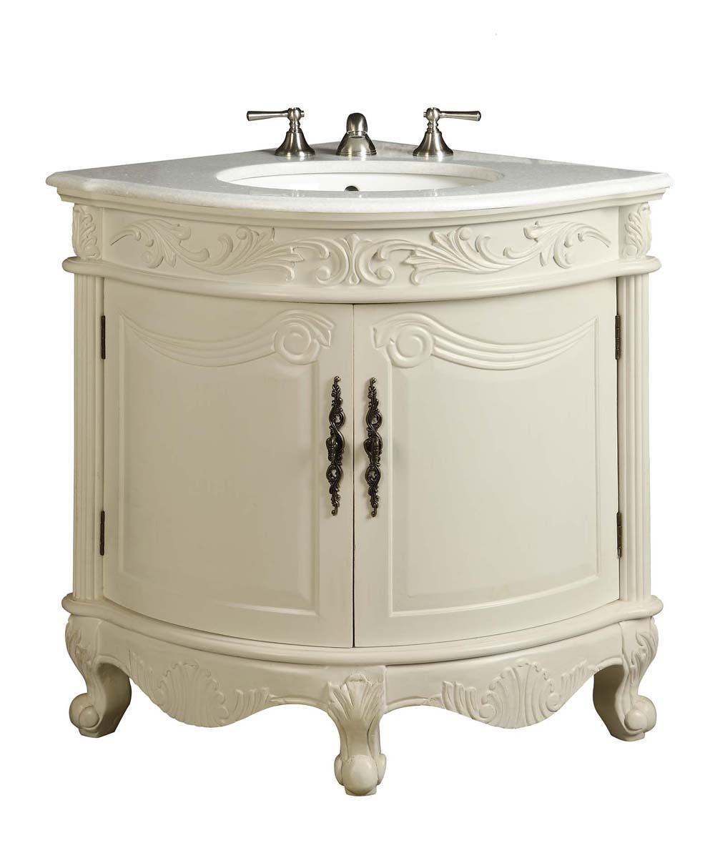 - Adelina 24 Inch Corner Antique Bathroom Vanity Antique White Finish
