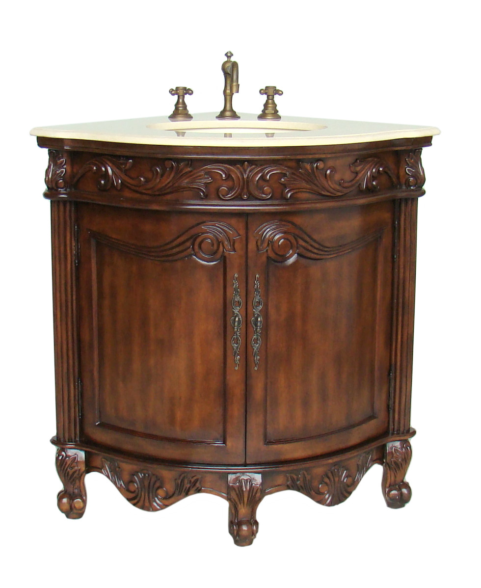 adelina 24 inch corner antique bathroom vanity light walnut finish 24 Bathroom Vanity