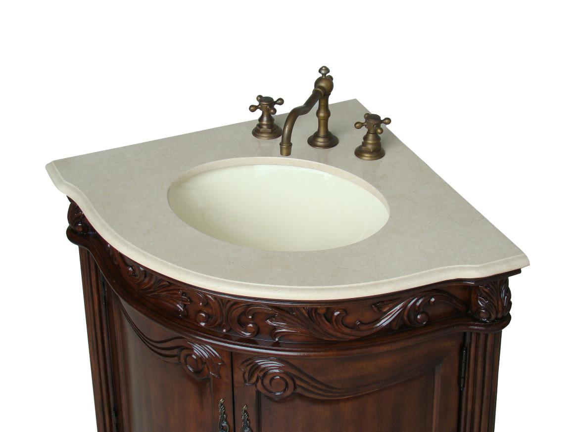 Adelina 24 Inch Corner Antique Bathroom Vanity Light Walnut Finish