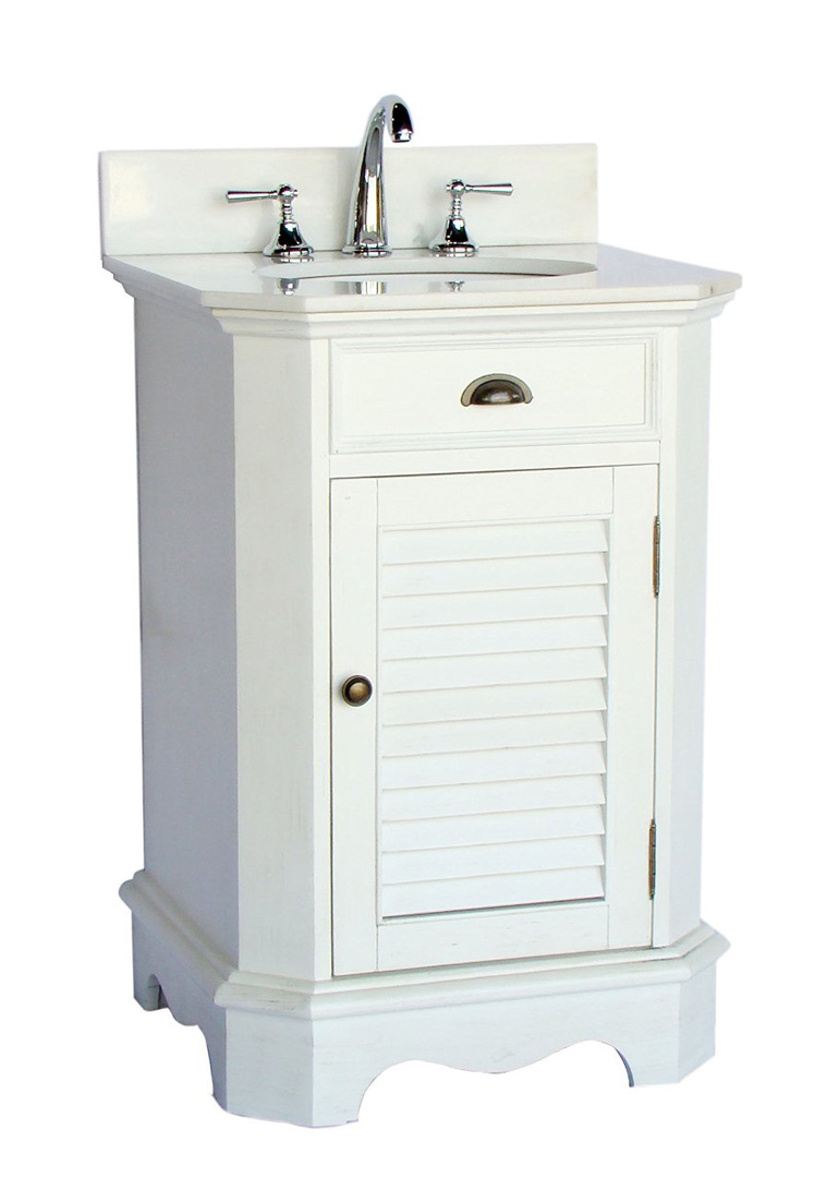 Adelina 24 inch cottage white finish bathroom vanity for Bathroom 24 inch vanity