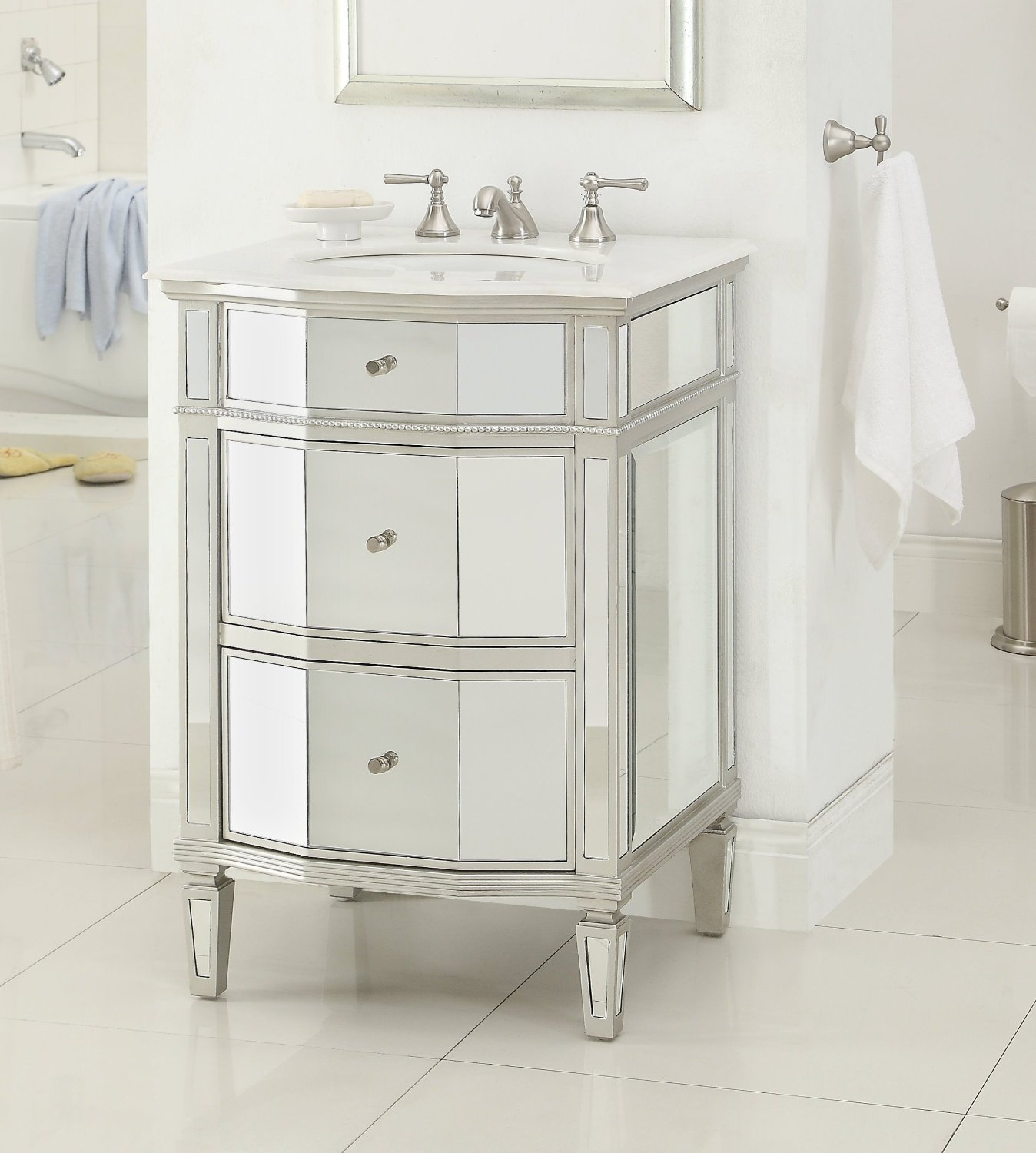 Adelina Inch Mirrored Bathroom Vanity Imperial White Marble - 24 inch bathroom vanity with drawers for bathroom decor ideas