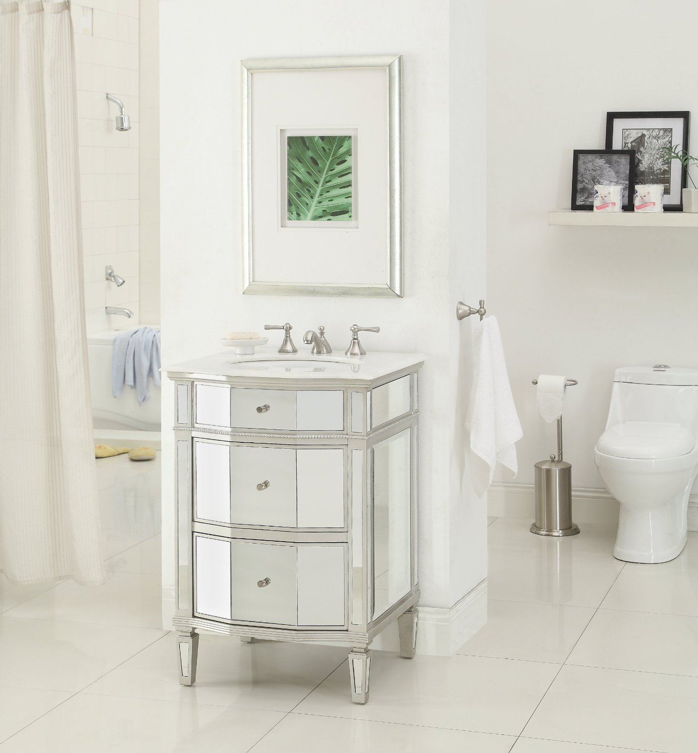 Where can i buy a bathroom vanity -  Adelina 24 Inch Mirrored Bathroom Vanity