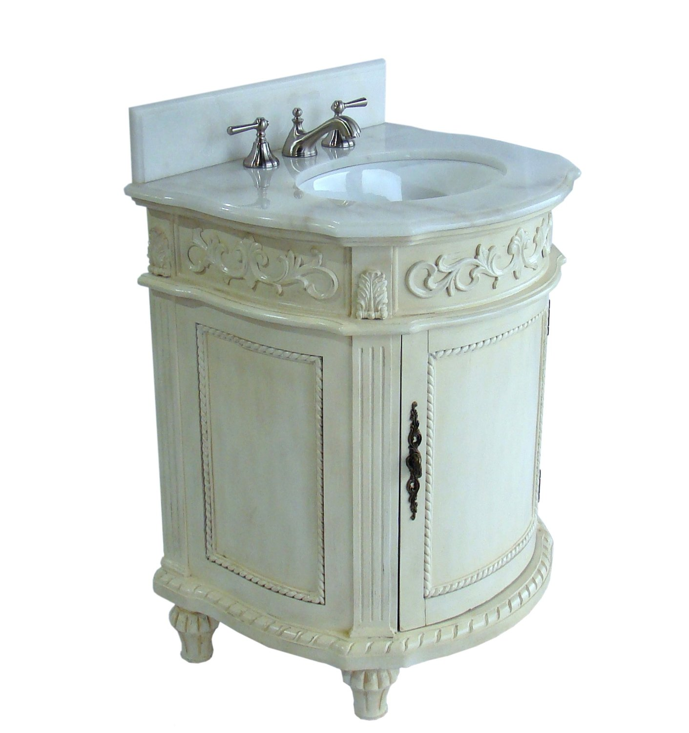 Adelina Inch Petite Bathroom Vanity Antique White Finish