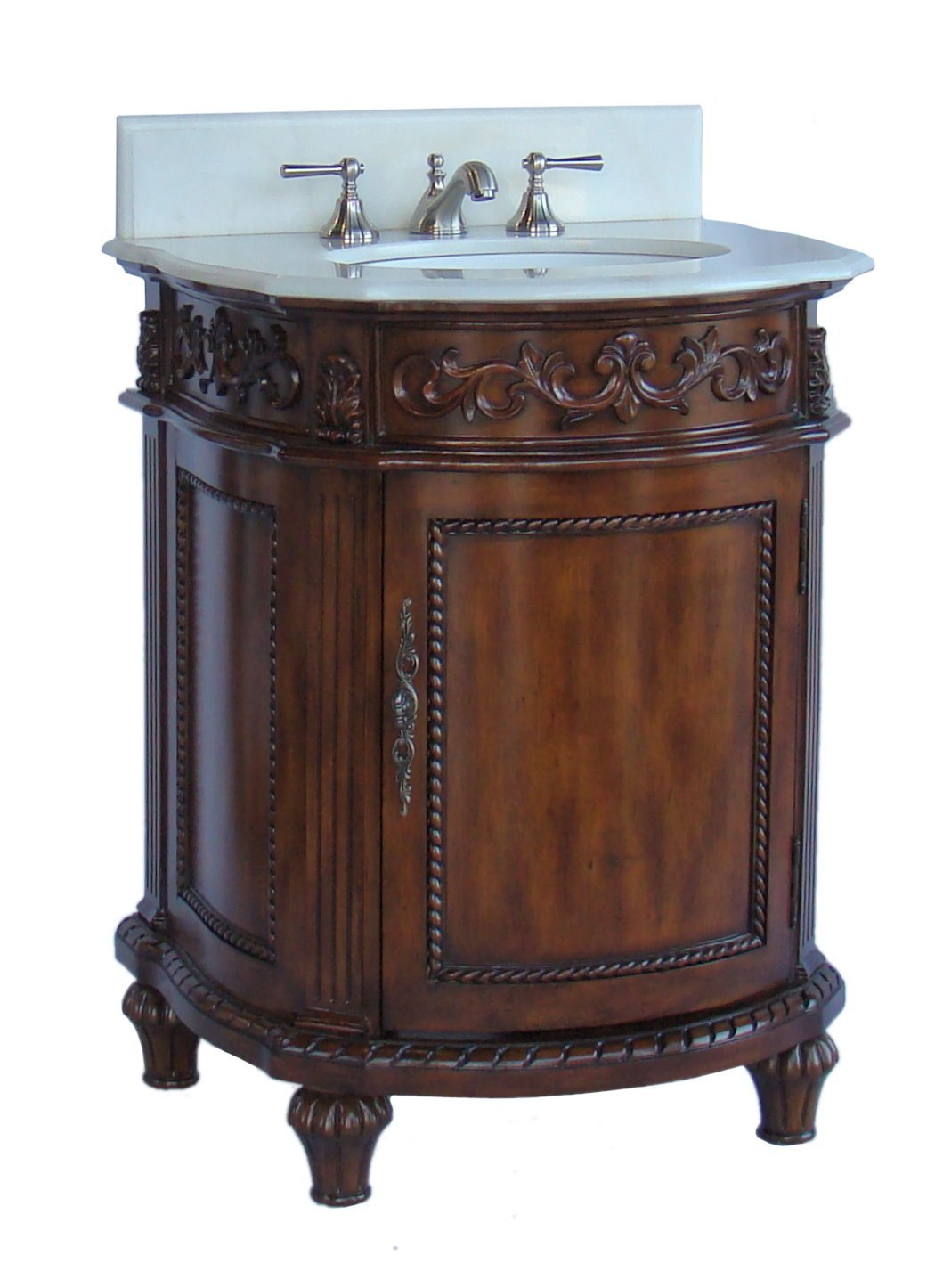 Adelina 26 Inch Petite Bathroom Vanity Brown Mahogany Finish ...