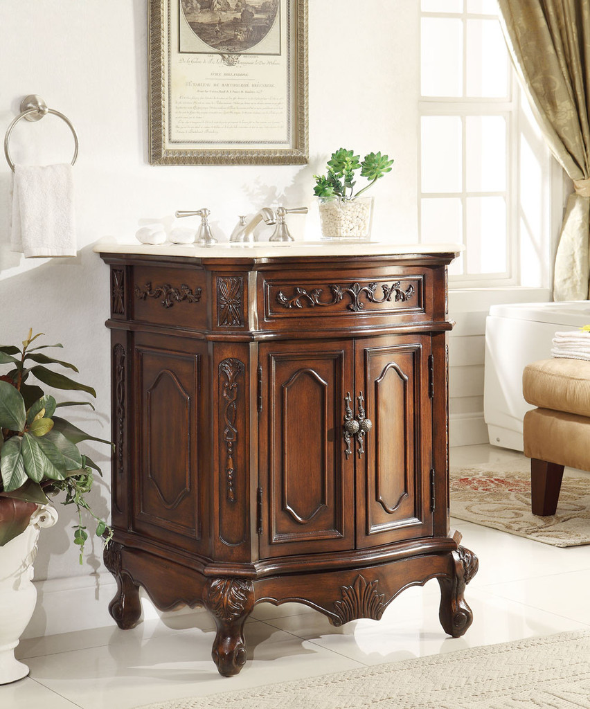 - Adelina 27 Inch Antique Bathroom Vanity Lush Wood Finish