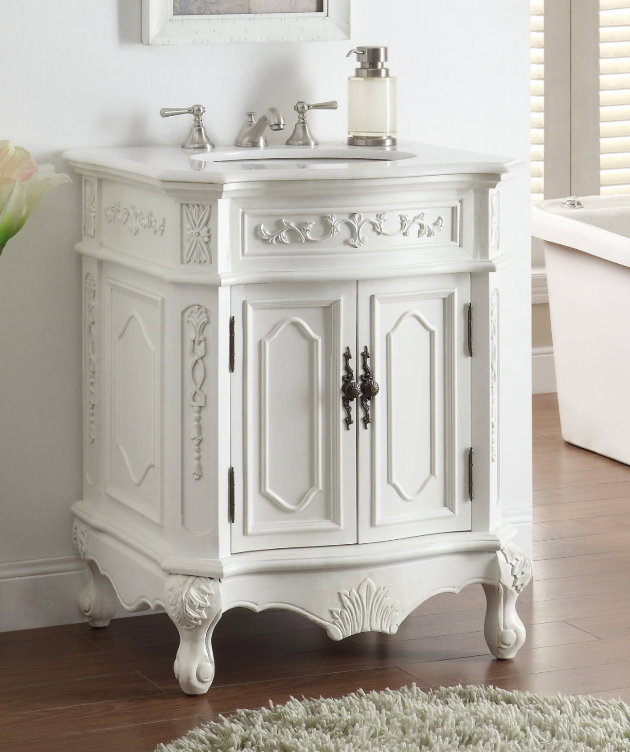 Adelina 27 Inch White Finish Antique Bathroom Vanity