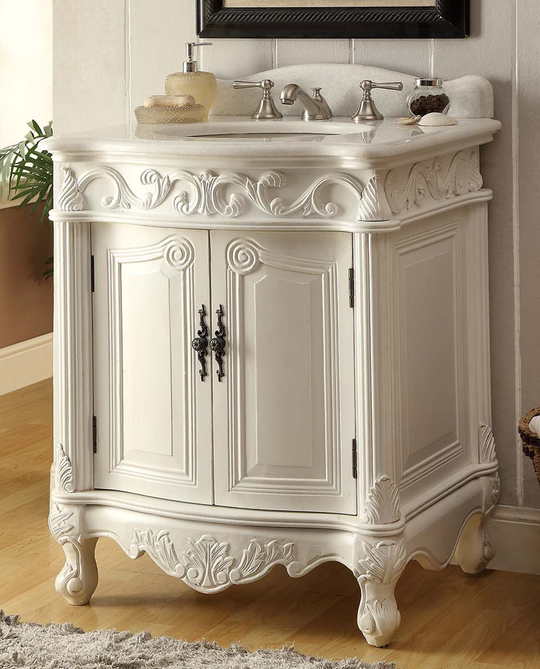 Adelina 27 Inch Antique Bathroom Vanity White Finish
