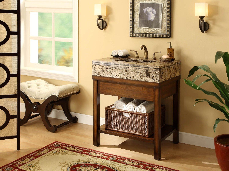 Adelina 29 Inch Bathroom Vanity Cabinet Brown Top ...