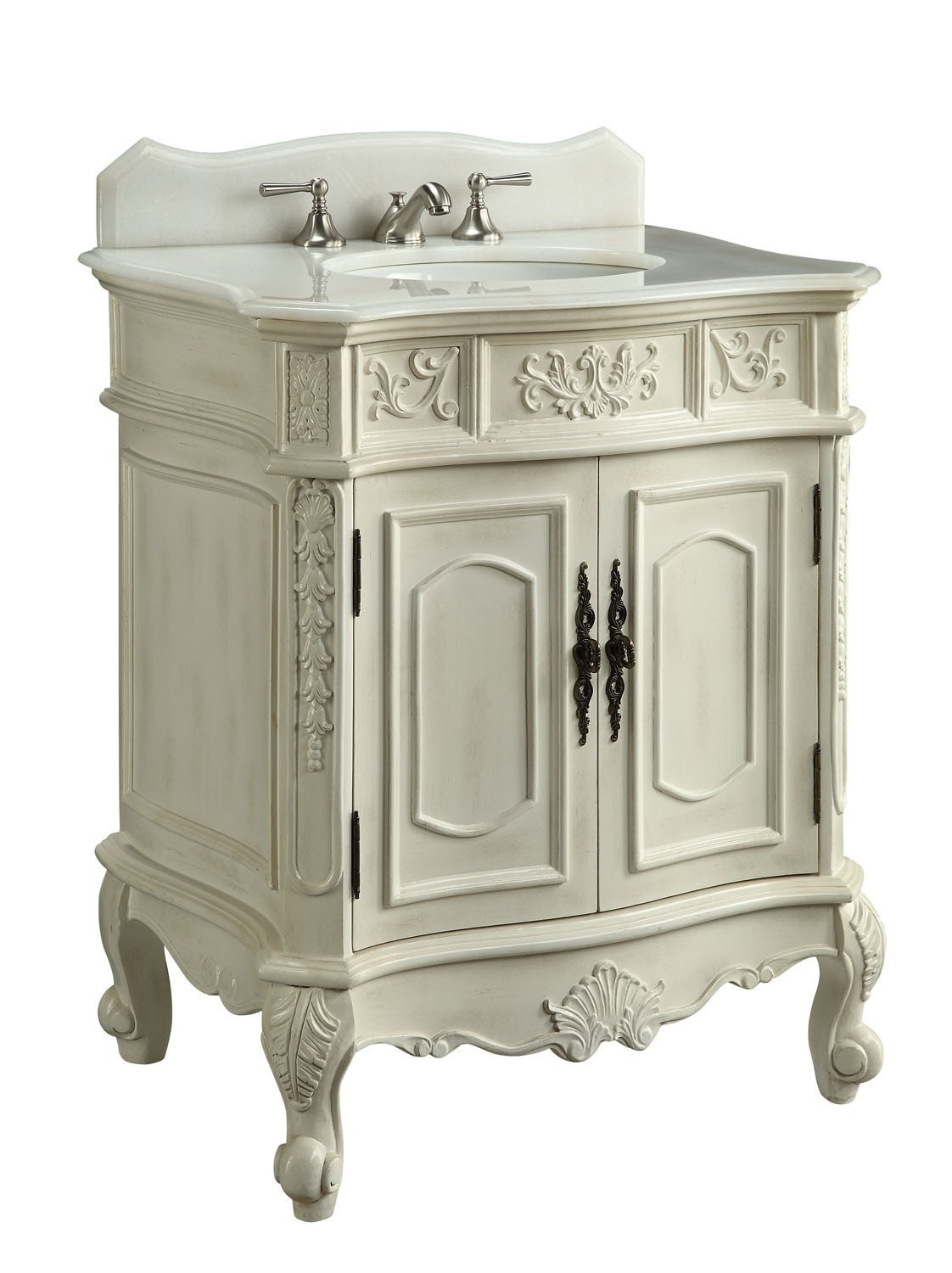Adelina 30 inch antique white single sink bathroom vanity for Bathroom 30 inch vanity