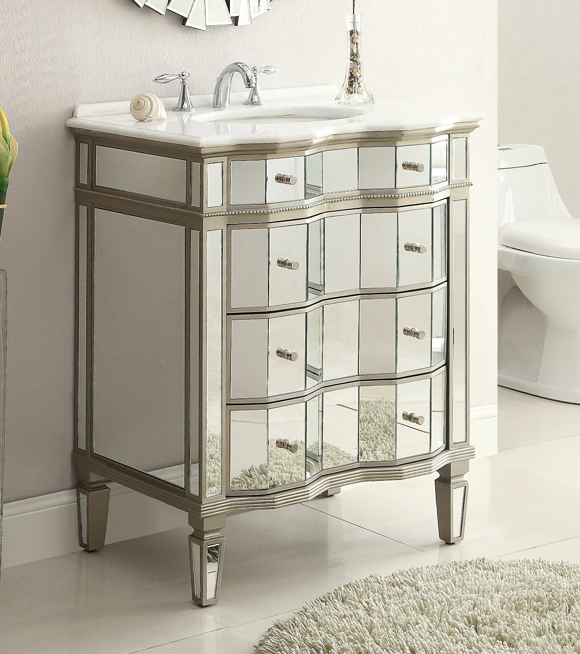Adelina 30 inch mirrored bathroom vanity cabinet mirror for 48 inch mirrored bathroom vanity