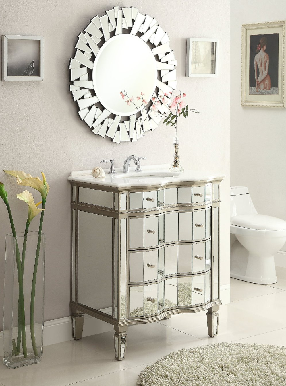 & Adelina 30 inch Mirrored Bathroom Vanity Cabinet u0026 Mirror