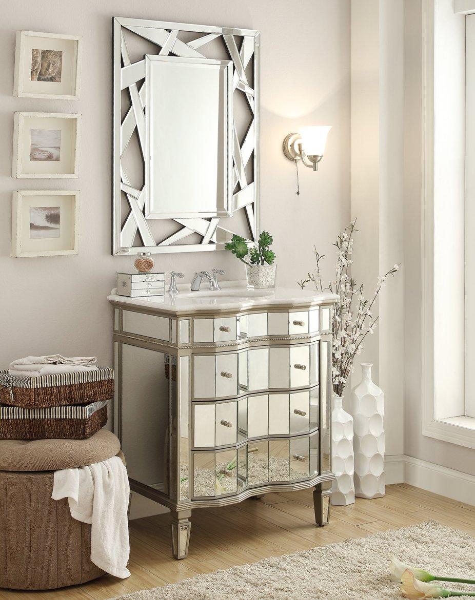 Adelina 30 Inch Mirrored Bathroom Vanity Mirror