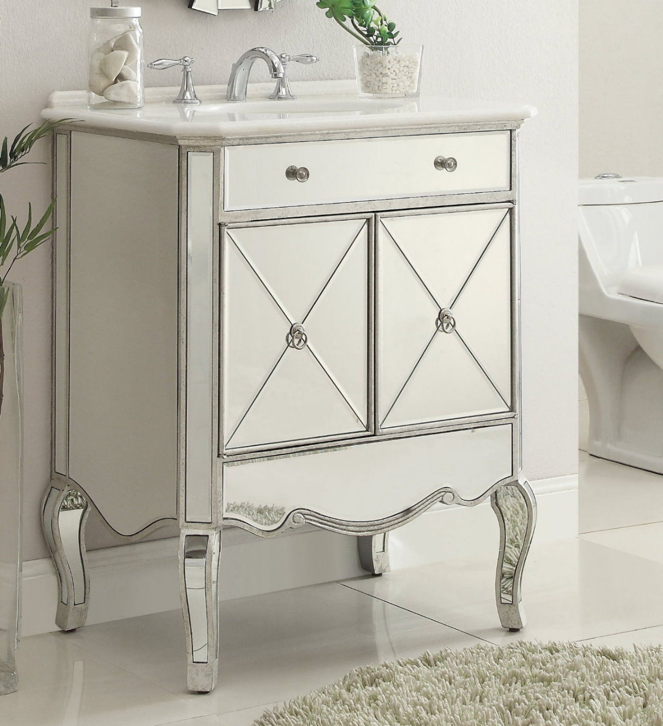 bathroom vanity 30 inch. Adelina 30 Inch Mirrored Silver Bath Vanity Marble Top Bathroom