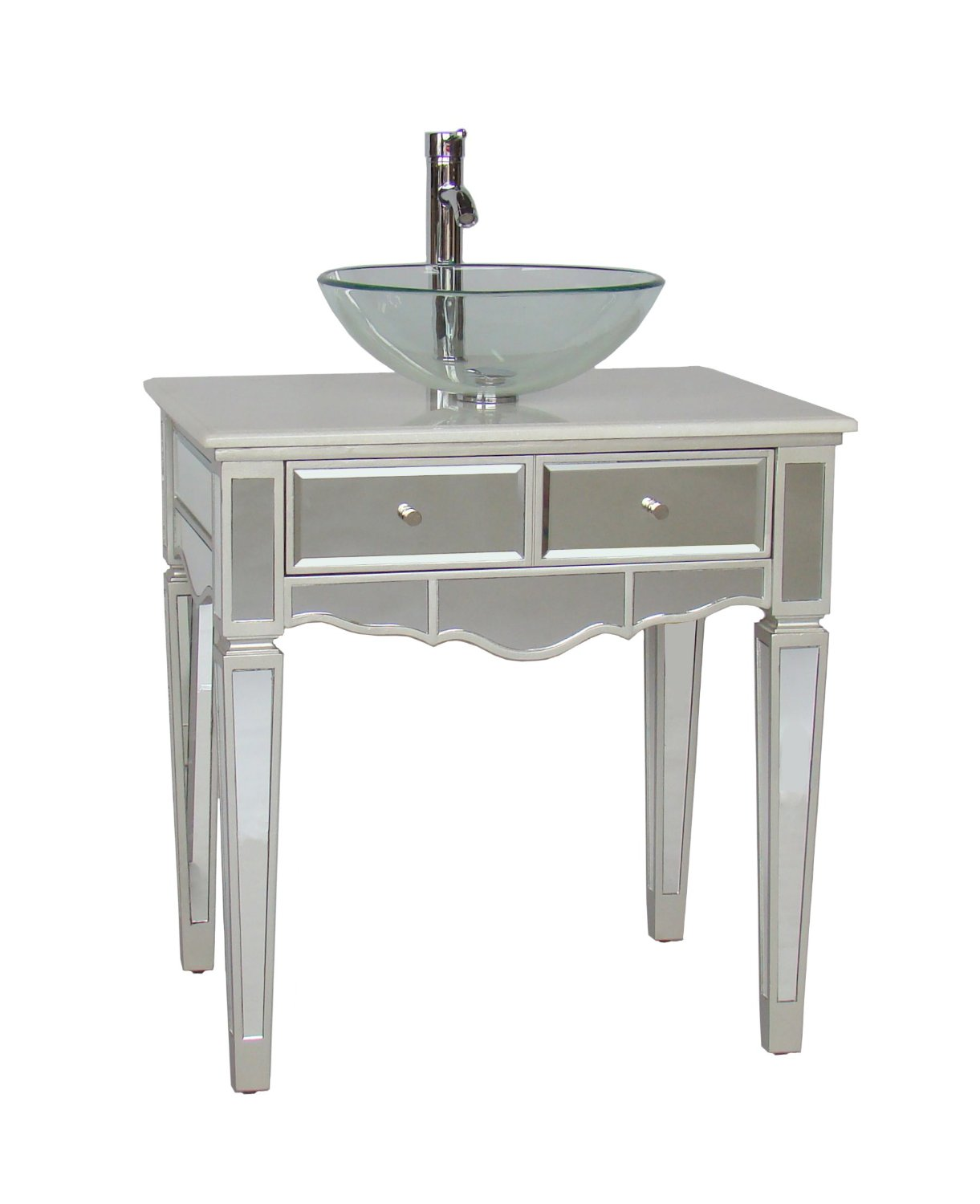 Adelina 30 Inch Mirrored Vessel Sink Bathroom Vanity White Marble Counter Top