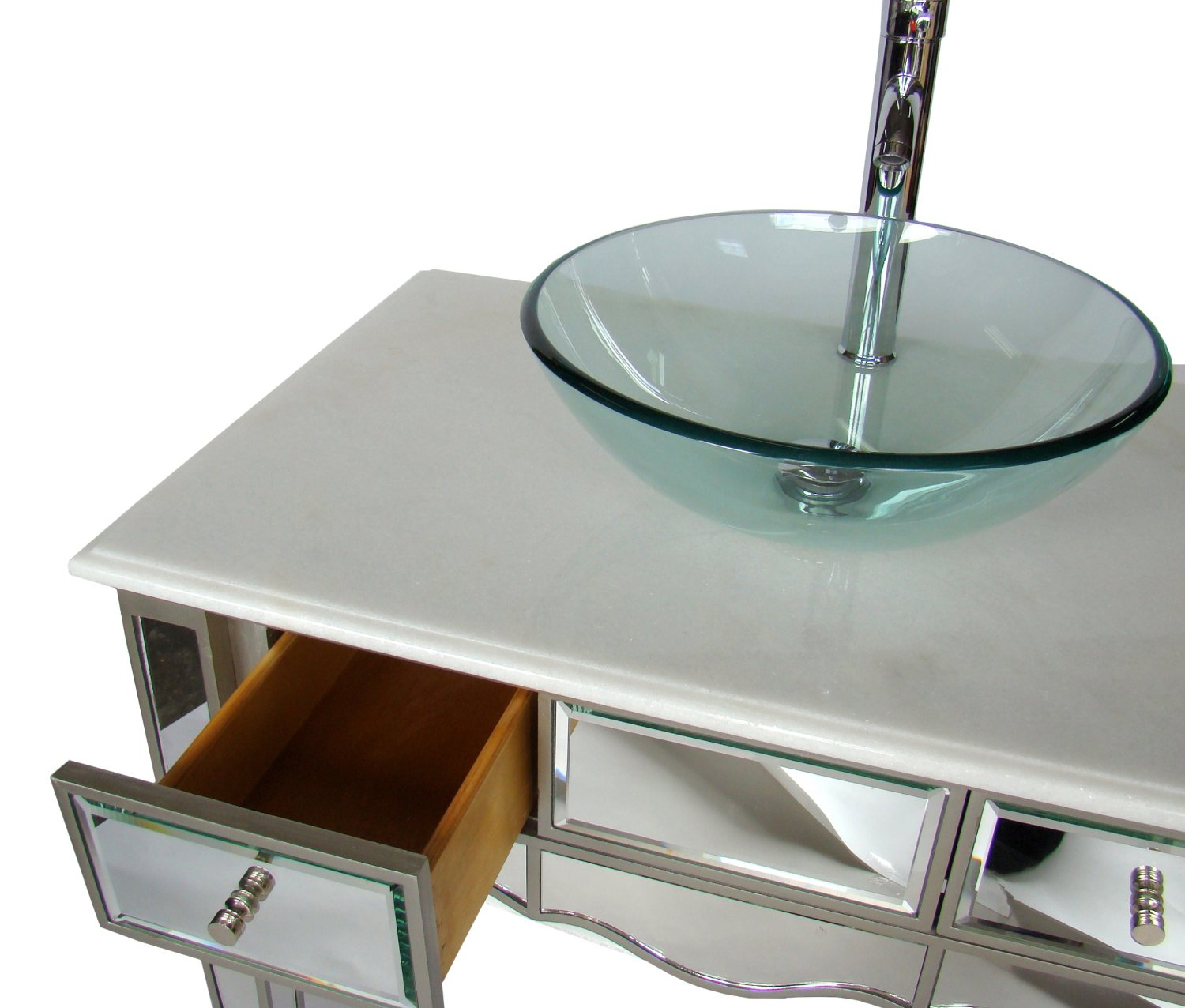 Adelina 30 Inch Mirrored Vessel Sink Bathroom Vanity