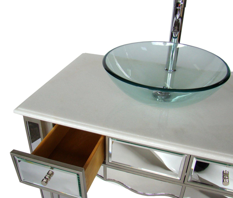 30 Inch Bathroom Vanity Vessel Sink adelina 30 inch mirrored vessel sink bathroom vanity, white marble
